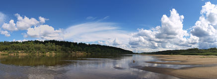 Panoramic views of the river. Vetluga in the summer on a Sunny day royalty free stock image