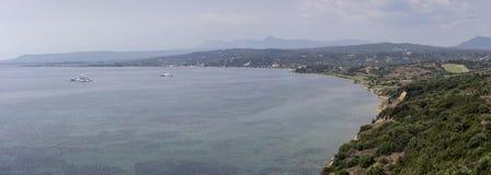 Panoramic views sea and mountain Royalty Free Stock Photo