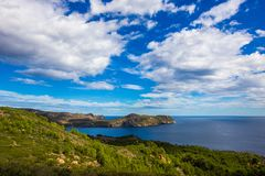 Panoramic views of the sea and mountains, rocky and hilly terrain on the coast of Costa Brava, the Mediterranean Sea in Spain, Cat stock photography