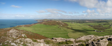 Panoramic Views of St David`s Head from the top of Carn Llidi Stock Images