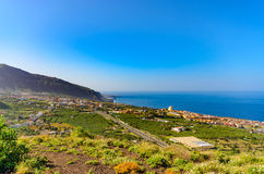 Panoramic views from the top of the volcanic cone, Montaña de los Frailes on the Atlantic coast to the west. Royalty Free Stock Images