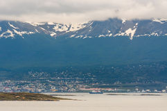 Panoramic views of the Ushuaia in cloudy weather Stock Image