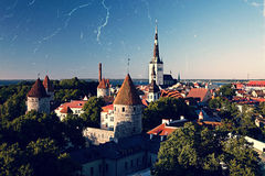 Panoramic vintage style view of Tallinn old city center Stock Photos