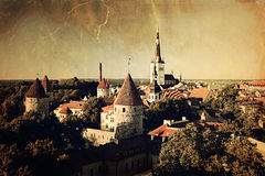 Panoramic vintage style view of Tallinn old city center Royalty Free Stock Photos