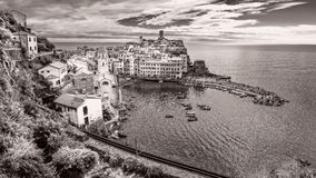 Panoramic vintage view of Vernazza, Cinque Terre Royalty Free Stock Photo