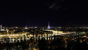 Turin by night. A panoramic vision of Turin by Night royalty free stock photo