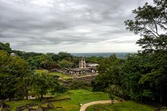 Panoramic vista of ancient Maya city state royalty free stock image