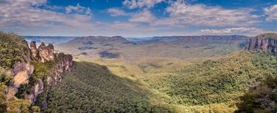 Three Sisters and Blue Mountains Panorama royalty free stock image