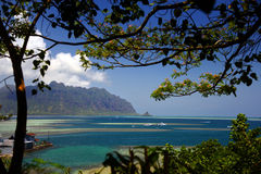 Panoramic Vista in Oahu, Hawaii, Palette of Tropical Blues and Greens Royalty Free Stock Photos