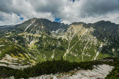 Panoramic vista over high mountains range in Poland Stock Images
