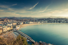 Panoramic vista over San Sebastian city and beach Stock Photography