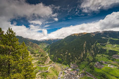 Panoramic vista over village and mountains in Andorra Royalty Free Stock Images