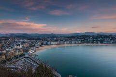 Panoramic vista San Sebastian at twilight stock images