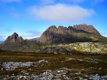 The panoramic vista of the summit of Cradle Mountain stock photo