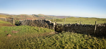 Panoramic wall in rural Derbyshire, England Royalty Free Stock Image
