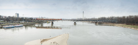 Panoramic Warsaw Secene of Swietokrzyski Bridge. Royalty Free Stock Image