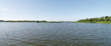 Panoramic of water with distant riverbanks Royalty Free Stock Images