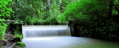 Panoramic waterfall. Panoramic view of a small waterfall Royalty Free Stock Photography