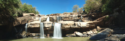 Panoramic waterfall. A water fall in tropical forest of Thailand royalty free stock photos