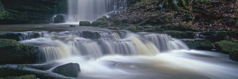Panoramic waterfall. A beautful waterfall in Yorkshire, UK in a panoramic format Stock Photos