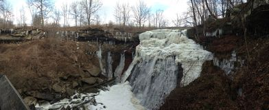Panoramic Waterfall. The Brandywine Falls in Cuyahoga Valley National Park Royalty Free Stock Photos