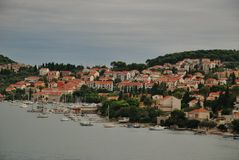 Panoramic waterfront view of Dubrovnik port, Croatia Royalty Free Stock Photography