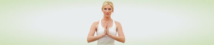 Young Female Woman Practicing Yoga Panorama royalty free stock photography