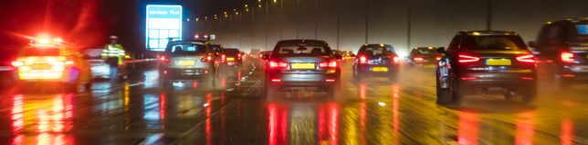 Motion Blur British Motorway Traffic and Police Panorama royalty free stock photography
