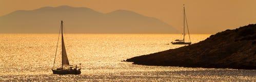 Panorama Boats Sailing at Sunset, Hvar Croatia stock image