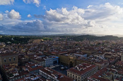 Panoramic wide bird eye view at city of Florence Stock Photography