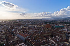 Panoramic wide bird eye view at city of Florence Stock Image