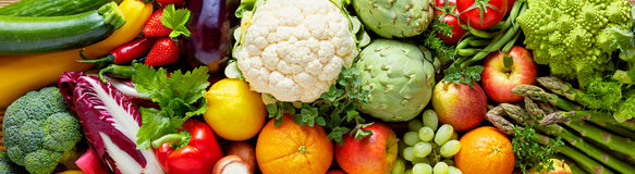Panoramic wide organic food background Royalty Free Stock Photography