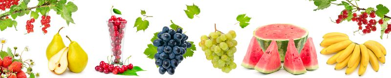Panoramic wide picture healthy and useful berries and fruits iso Royalty Free Stock Photo