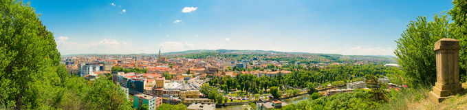 Panoramic wide view from above of historic center and central pa. Panoramic view from above of Cluj Napoca in Transylvania Region of Romania which is also the stock photography