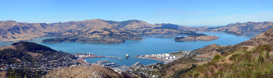 Lyttleton Port & Harbour Panorama, Christchurch, New Zealand. Stock Images