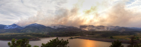 Panoramic Wildfire Landscape Stock Photos