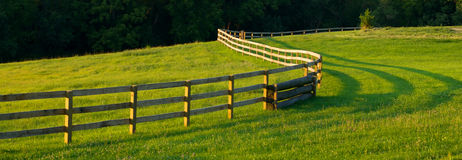 Panoramic Winding Fence In Farm Fields. A long wooden fence winds through a grass and flower filled farm field royalty free stock photos