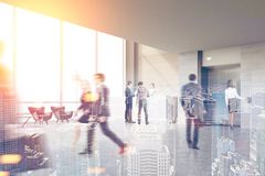 Panoramic window elevator hall, people. Business people are walking in an office hall with a secretary, a reception counter and an elevator. 3d rendering toned stock illustration