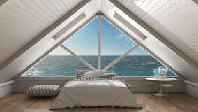 Panoramic window on open sea ocean, mezzanine loft, bedroom with Stock Photos