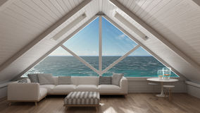 Panoramic window on open sea ocean, mezzanine loft, living room Stock Photos