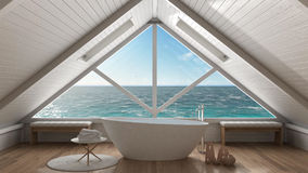 Panoramic window on open sea ocean, mezzanine loft, spa bathroom Royalty Free Stock Photo
