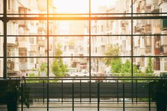 Panoramic window in the shopping mall. Abstract business interior background Royalty Free Stock Photography