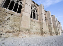 Panoramic windows of a medieval castle in Lleida Royalty Free Stock Photo