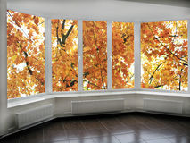 Panoramic windows with view to oaken autumnale forest. Big panoramic windows with view to oaken autumnale forest Stock Photography