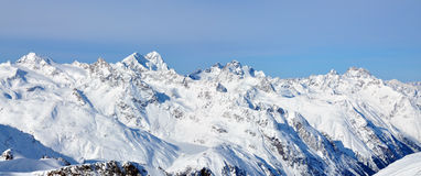 Panoramic winter Alps lanscape. Winter Alps landscape from ski resort Solden Stock Photos
