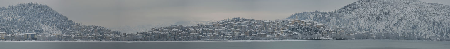 Panoramic winter cityscape Royalty Free Stock Images