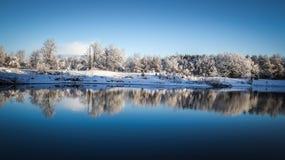 Panoramic Winter Lake Reflections Stock Image