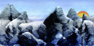 Panoramic winter landscape with mountains and peak covered with snow, sunset and frozen rocks. Blue and white mountain landscape with snow and sun Royalty Free Stock Photo