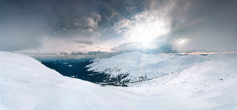 Panoramic winter landscape Royalty Free Stock Images