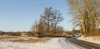 Panoramic winter landscape in Ukrainian rural area Stock Image